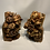 Thumbnail: Two gilded and sculpted wooden elements in the shape of flowers .