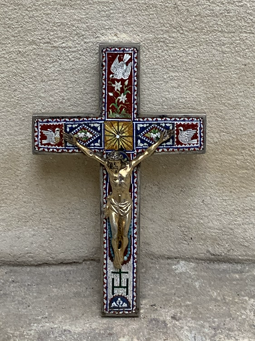 A Corpus Christi on a silver cross with micro mosaic . Italy XIX century .