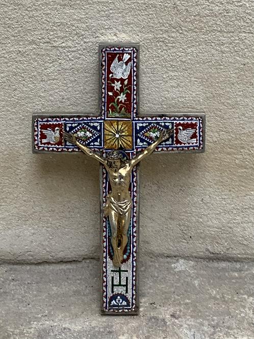 A Corpus Christi on a silver cross with micro mosaic . Italy XIX century .