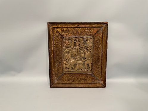 An alabaster relief in his frame from Mechelen XVII century.