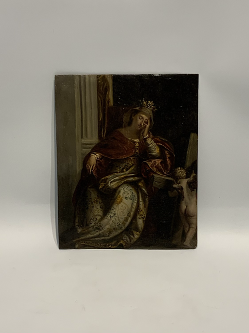 An oil painting on copper representing saint Helene.