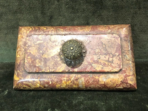 A good 18th century marble presse papier with a bronze handle