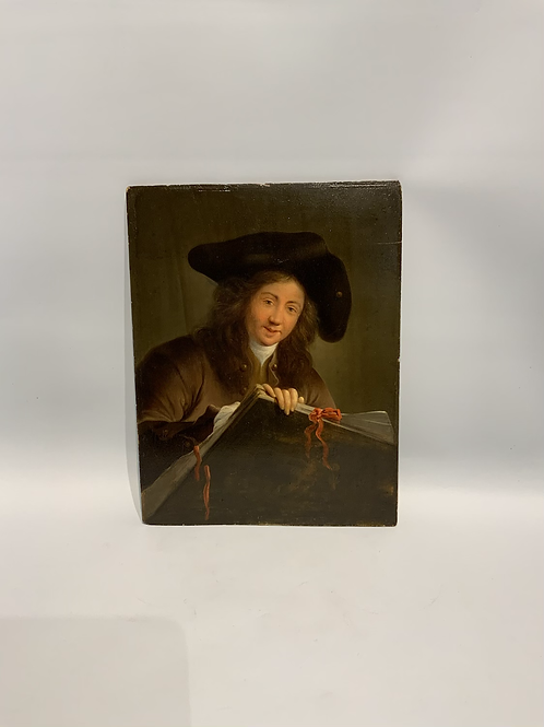 A painting in oil on a wooden panel representing a portrait of a painter.