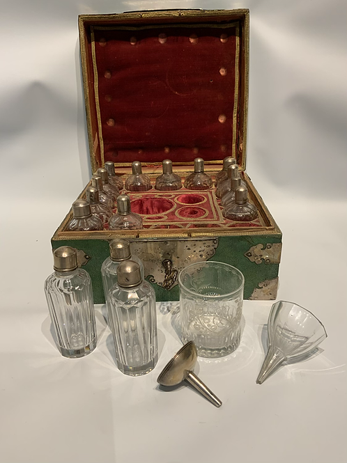 A rare parfum set in his sharkskin box with silver mountings .