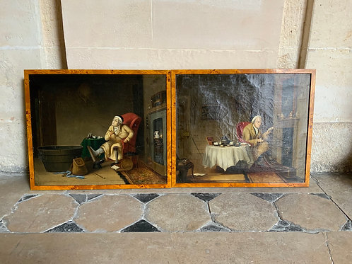 Two English oil paintings on canvas from the XIX century.