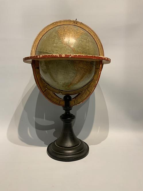 Earth globe signed Delamarche.