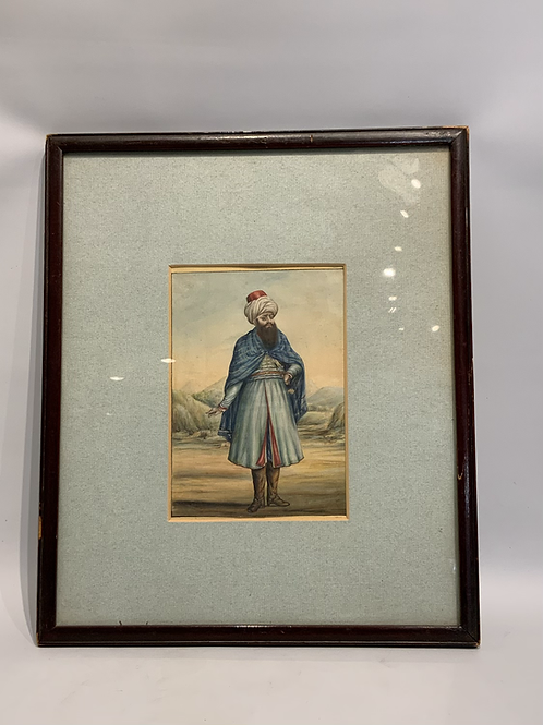 An Ottoman painting of a man from the XIX century in a later frame .