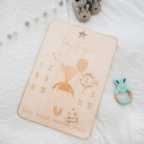 Engraved New Baby Age Milestone Wooden Board with Fox and Balloons Design