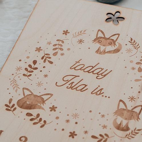 Foxes Wreath Design New Baby Age Milestone Board