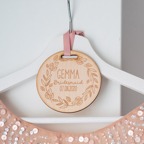 Engraved Wooden Tag For Wedding Dress Hanger Cute Flower Design