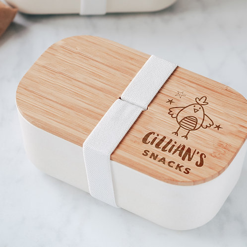 Little Chicken Line Drawing Engraved Eco Bamboo Lunch / Snack Box