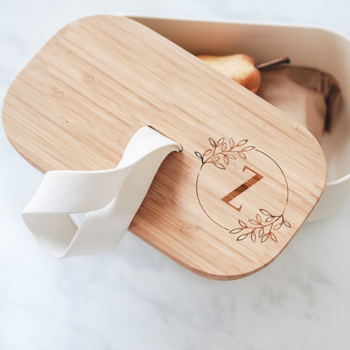Eco Bamboo Lunch / Snack Box with Floral Monogram Design