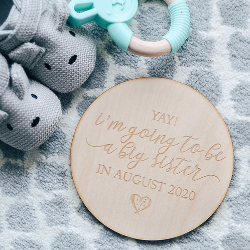 'Soon to be Big Sister' Pregnancy Announcement Wooden Keepsake Plaque