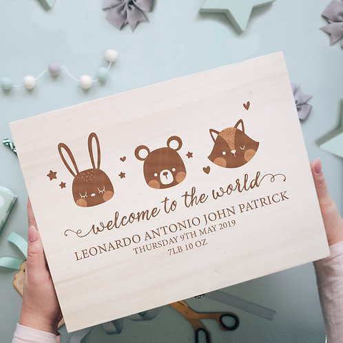 'Welcome To The World' New Baby Wooden Memory Box with Cute Animals