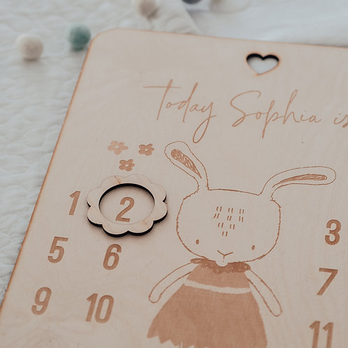 New Baby Age Milestone Engraved Wooden Board with Bunny Design