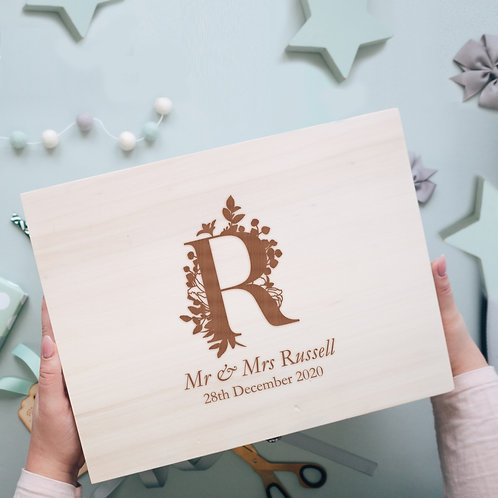 Floral Initial Wooden Memory Box for Newlyweds