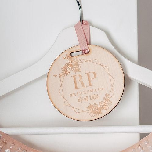 Engraved Wooden Tag For Wedding Dress Hanger Geometric Flower Design