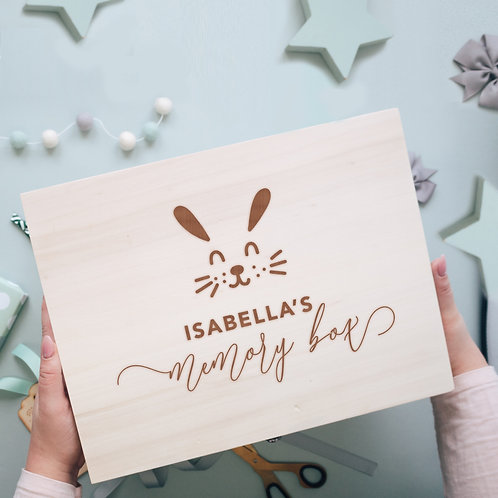 Keepsake Wooden New Baby or Birthday Memory Box with Bunny Face