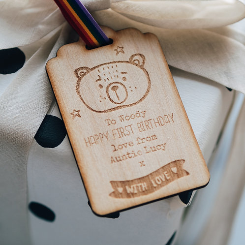 New Baby or Birthday Present Gift Tag Keepsake with Bear Design