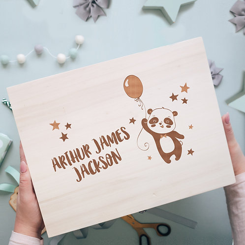 Birthday or New Baby Keepsake Memory Box with Panda and Balloons