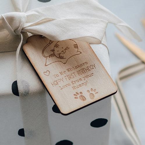 Wooden Cat Birthday Gift Tag Keepsake