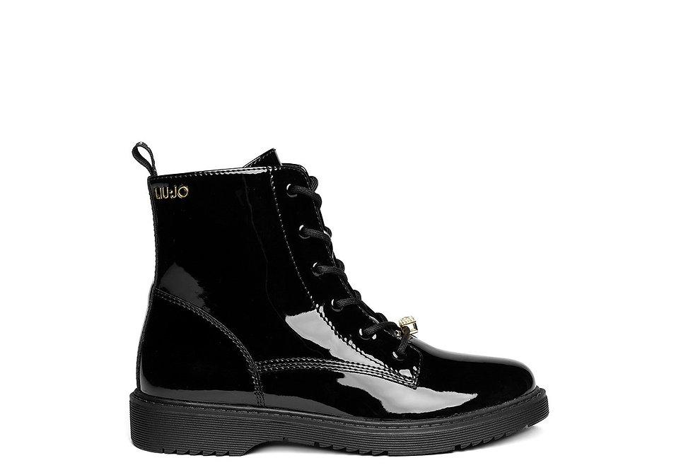 Liu •Jo Milano STIVALETTO PAT 123 - BIKERS BLACK 4F0715EX004