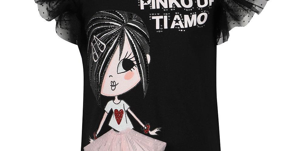 PINKO UP T-SHIRT CON MANICHE IN RETE ARRICCIATO Art. 027384
