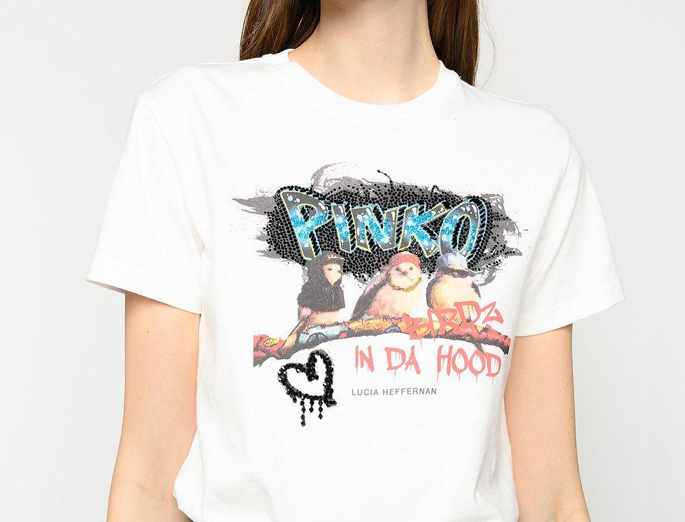 "Pinko T-SHIRT ""BIRDZ IN DA HOOD"" 1N12TNY6LC"