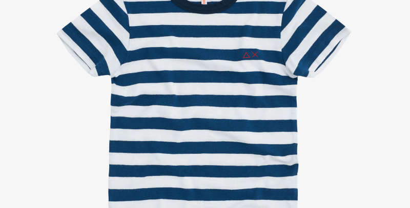 Sun 68 BOY'S T-SHIRT ROUND FULL STRIPES BLUE/BIANCO T30311
