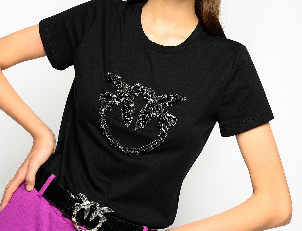 Pinko T-SHIRT RICAMO LOVE BIRDS SHINY 1G15GEY4LX