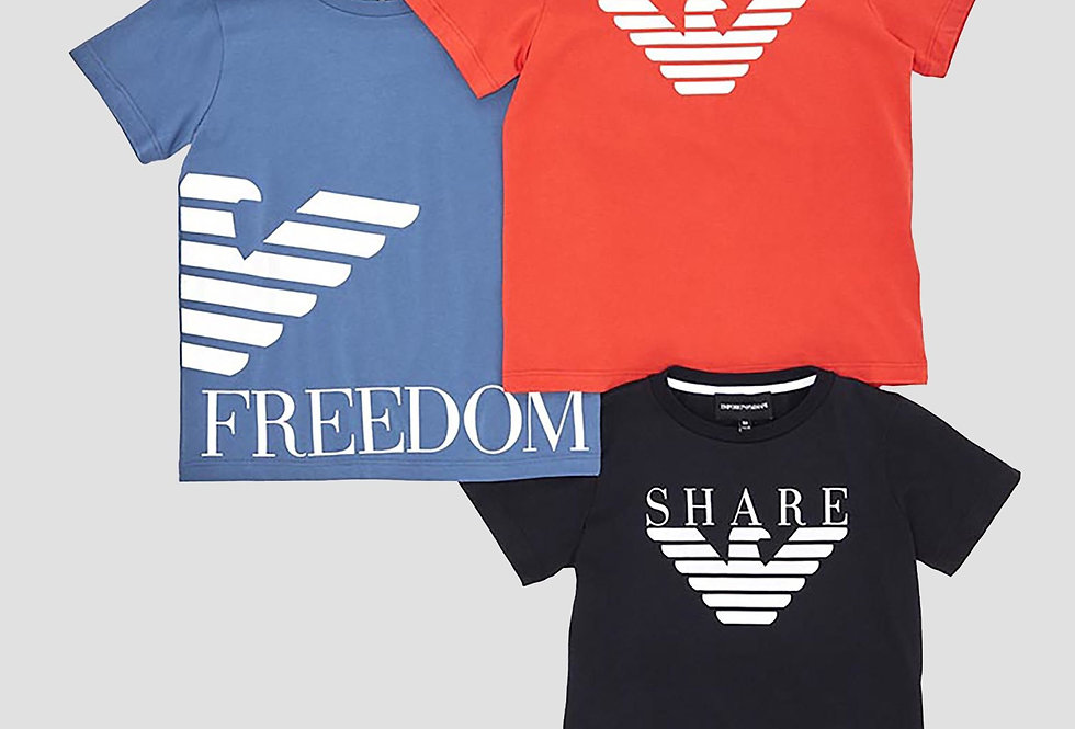 EMPORIO ARMANI  Set tre t-shirt in jersey con stampa logo  3G4DJ14J