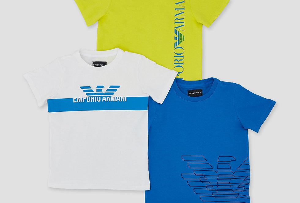 EMPORIO ARMANI  Set tre t-shirt in jersey con stampa logo  3G4DJ24J