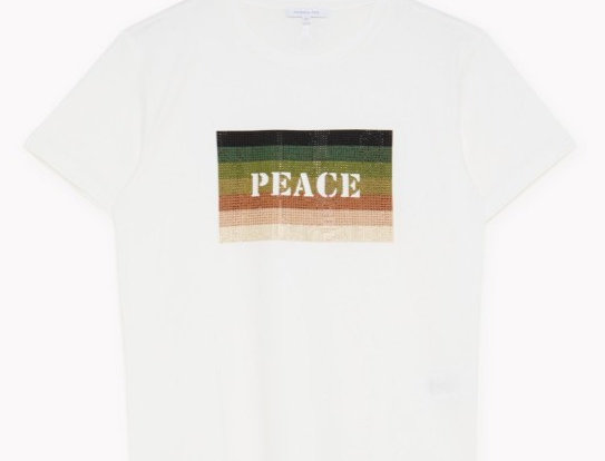 """PATRIZIA PEPE T-SHIRT STAMPA """"PEACE"""" Art. 8M1213A8T0"""