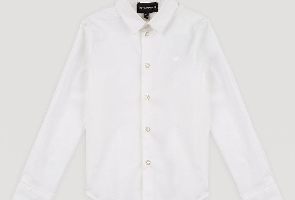 Emporio Armani Camicia in popeline di cotone stretch con logo ricamato 8N4C09
