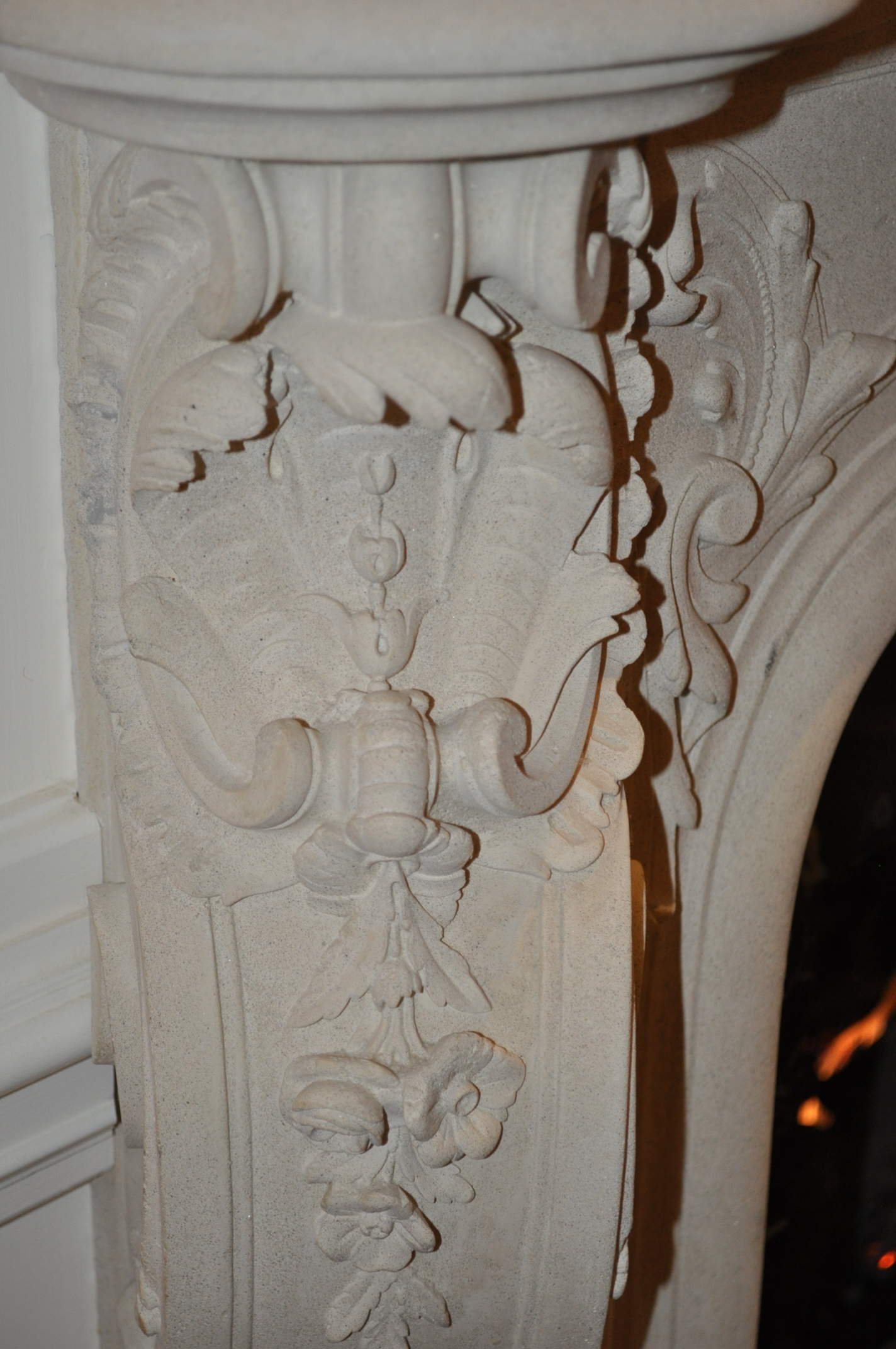 Intricately carved fireplace mantel