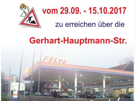Bei unserer FELTA Tankstelle in Bad Iburg wird eine Straße gesperrt - Die Tankstelle ist trotzdem fü