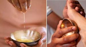 Massage des pieds avec le bol Kansu