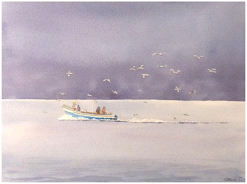 Pêcheurs au Léman 34x24,5 cm