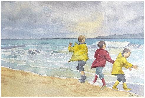 Jeux d'hiver sur la plage 19x12,5 cm