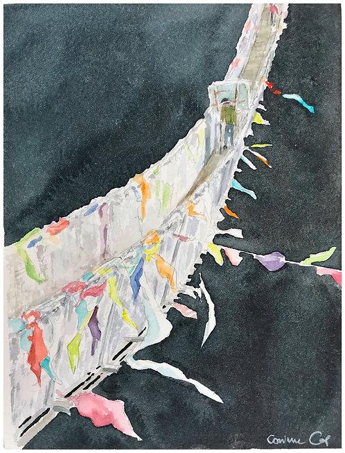 Passerelle (d'après une photo de Bernard Devaud) 14,5x19,5 cma