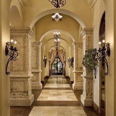 Old World Column Pillars at Interior Hallway