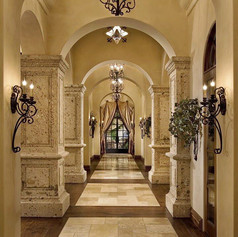 Old World Column Pillars at Interior Hallway