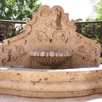 Two-Sided Wall Fountain in Cantera Stone