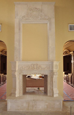 3-Classic-Old-World-Fireplace-Surround-with-Overmantel-and-Ornate-Pediment-in-Limestone