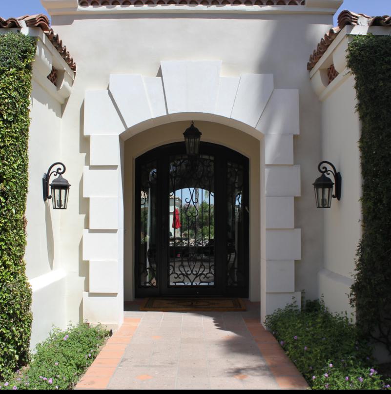 White limestone entryway surround