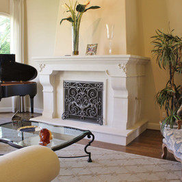 Limestone Fireplace Surround Mantel With Raised Limestone Hearth