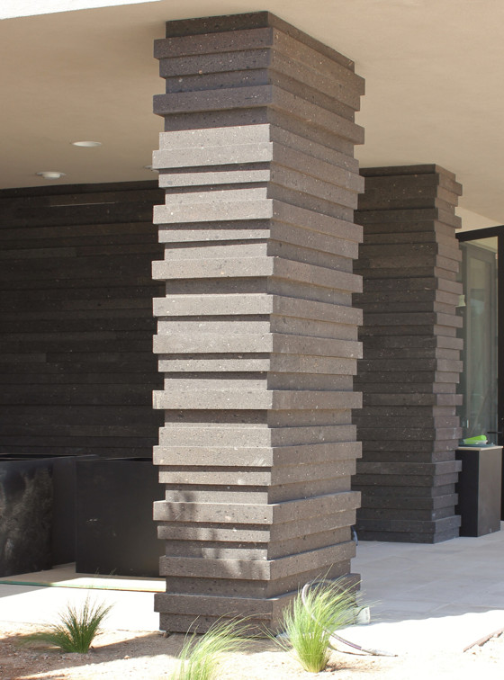 Modern Stone Column in Variable Depth Cladding System