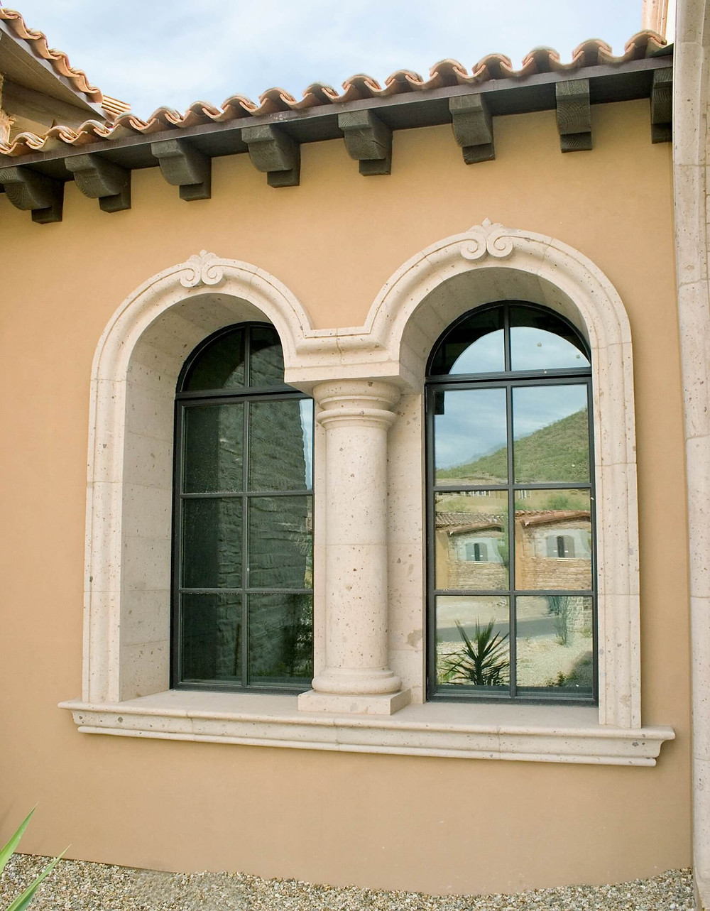 stone window surround and sill with column