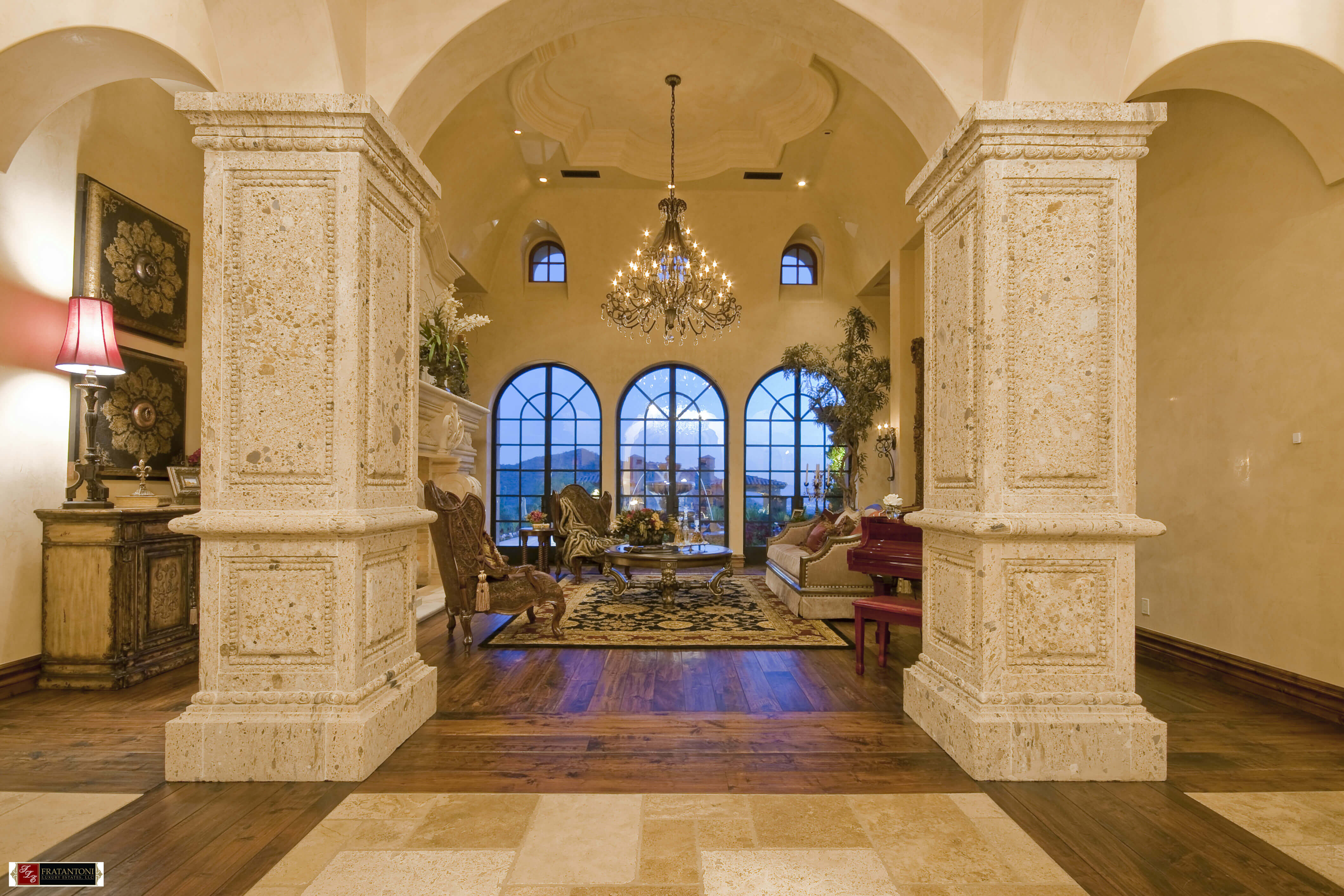 2B-Square-Raised-Panel-Tuscan-Style-Columns-at-Foyer-in-Oro-Cantera-Stone