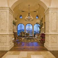 Square Tuscan Stone Columns at Foyer